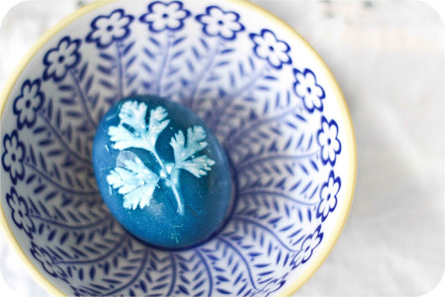 Herb stenciled eggs by Adventures in Cooking